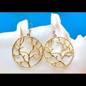 Gold Tree of life Earrings 2""